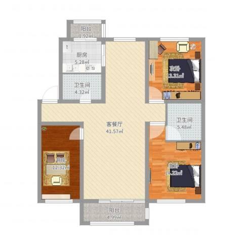 力旺康景3室2厅2卫1厨129.00㎡户型图