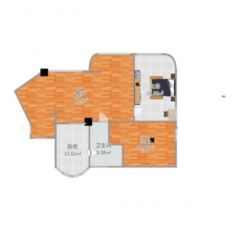 金浦花园2室1厅1卫1厨132.00㎡户型图