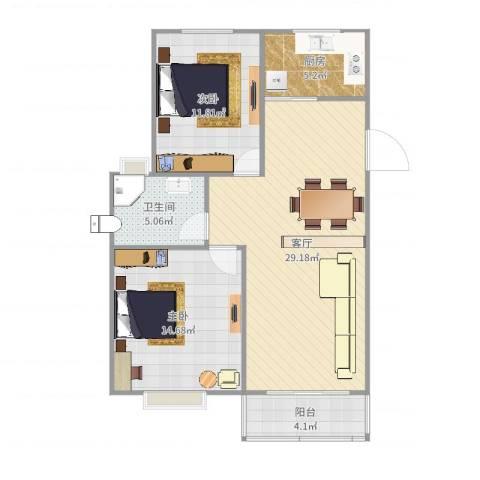 君悦国际花园2室1厅1卫1厨88.00㎡户型图