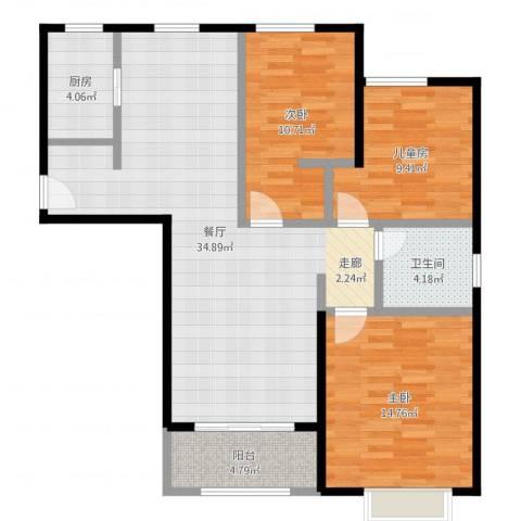 嘉利华府庄园3室1厅1卫1厨104.00㎡户型图