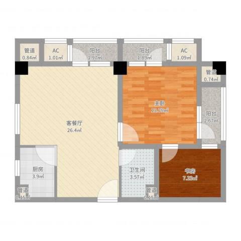 水墨兰庭2室2厅1卫1厨82.00㎡户型图
