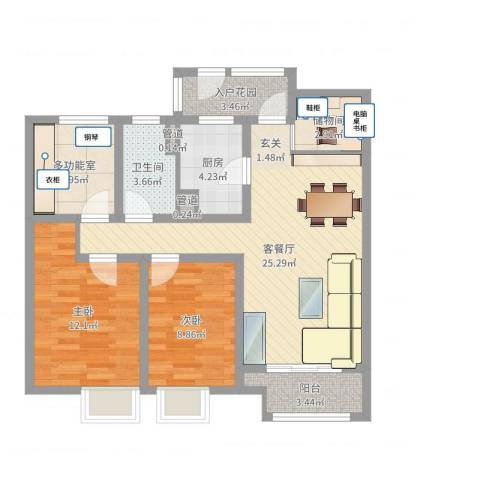 万科城2室2厅1卫1厨88.00㎡户型图