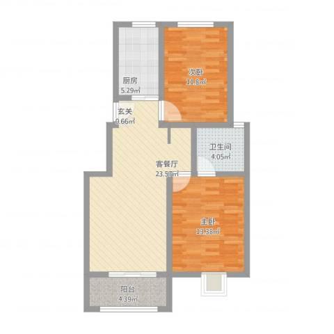 月明苑2室2厅1卫1厨91.00㎡户型图