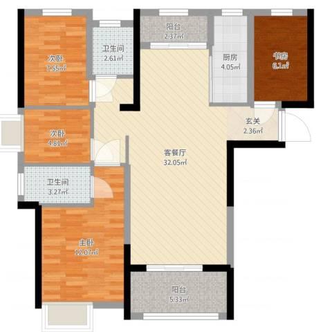 海亮悦府4室2厅2卫1厨100.00㎡户型图