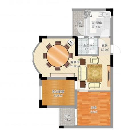 金科丽苑1室2厅1卫1厨65.00㎡户型图