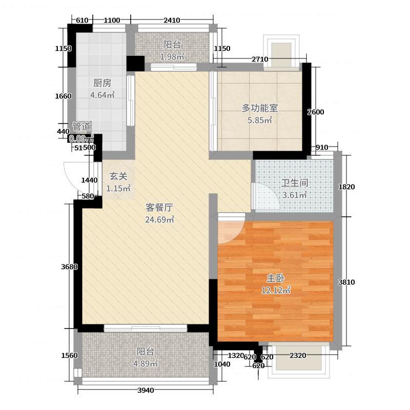 鲁能海蓝福源・依澜湾75.00㎡东3区公寓户型1室2厅1卫
