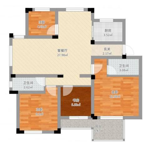 万峰小区二期4室2厅2卫1厨92.00㎡户型图