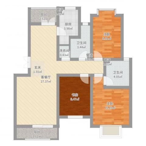 万峰小区二期3室2厅2卫1厨91.00㎡户型图