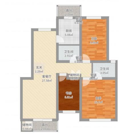 万峰小区二期3室2厅2卫1厨92.00㎡户型图