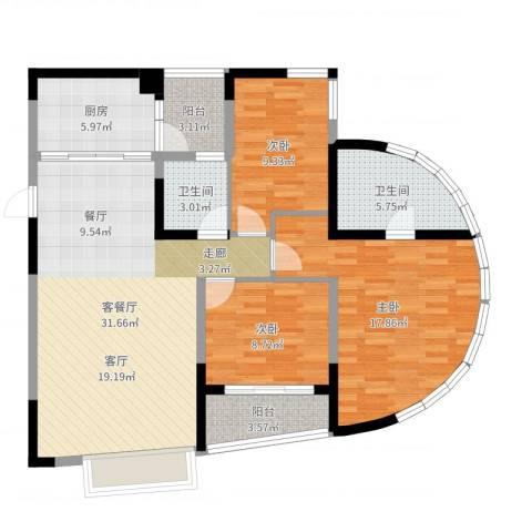 朵力名都(三期)3室2厅2卫1厨111.00㎡户型图