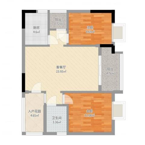 元邦明月园2室2厅1卫1厨78.00㎡户型图