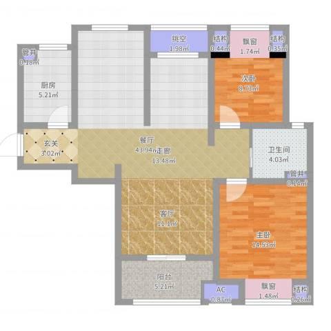 新城春天里2室1厅4卫5厨107.00㎡户型图