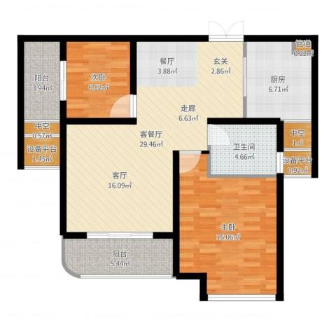 农房幸福天地2室2厅1卫1厨97.00㎡户型图