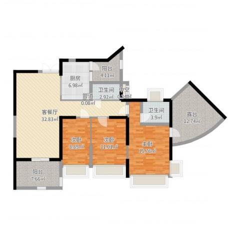 凯茵新城3室2厅2卫1厨134.00㎡户型图