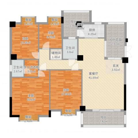 西堤国际花园4室2厅2卫1厨172.00㎡户型图