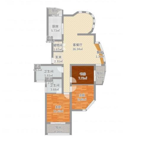 第五元素3室2厅2卫1厨115.00㎡户型图