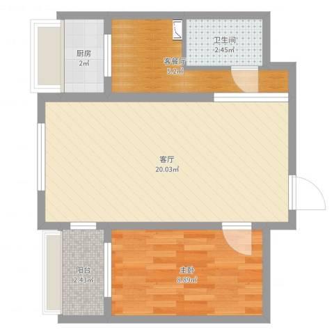 南开西里10号楼1室3厅1卫1厨51.00㎡户型图