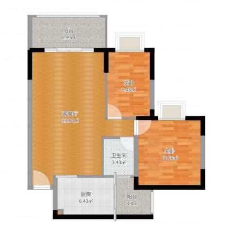 新安大厦2室2厅2卫1厨89.00㎡户型图