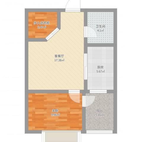 学府华园1室2厅1卫1厨57.00㎡户型图
