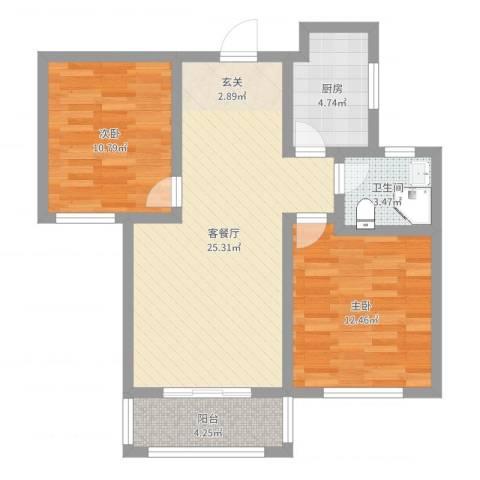 泰和名都2室2厅1卫1厨76.00㎡户型图