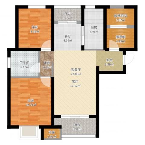 保利梧桐语2室2厅1卫1厨88.00㎡户型图