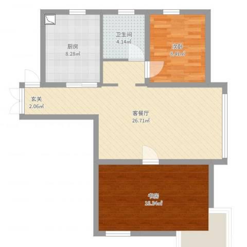 新希望乐城2室2厅1卫1厨80.00㎡户型图