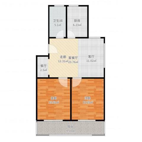 虹北公寓2室2厅1卫1厨89.00㎡户型图
