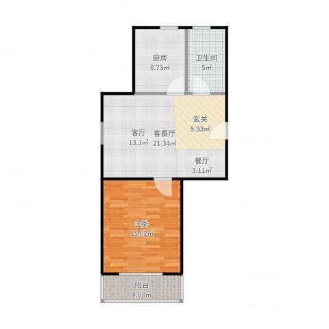 虹北公寓1室2厅1卫1厨65.00㎡户型图