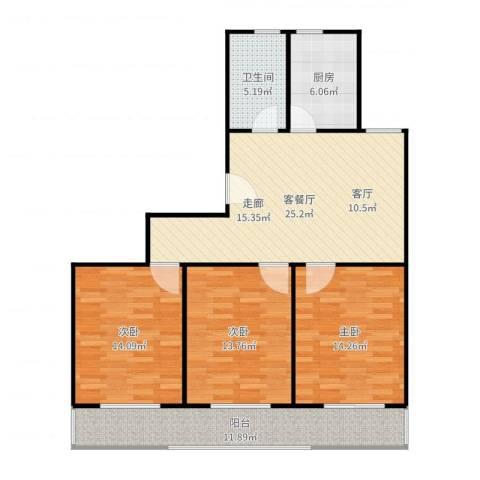 虹北公寓3室2厅1卫1厨113.00㎡户型图