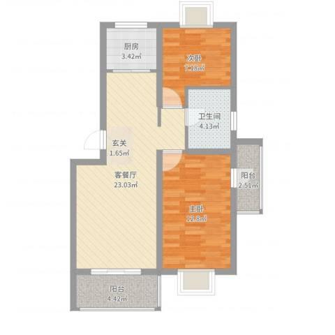 万峰小区二期2室2厅1卫1厨72.00㎡户型图