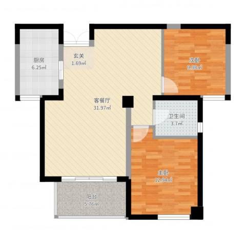 万峰小区二期2室2厅1卫1厨88.00㎡户型图