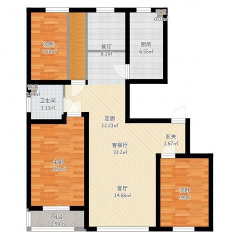 天山观澜豪庭3室2厅1卫1厨105.00㎡户型图