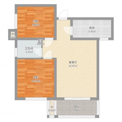 雅逸花园2室2厅1卫1厨71.00㎡户型图