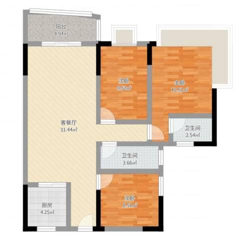 佳磊华丽大厦3室2厅2卫1厨97.00㎡户型图