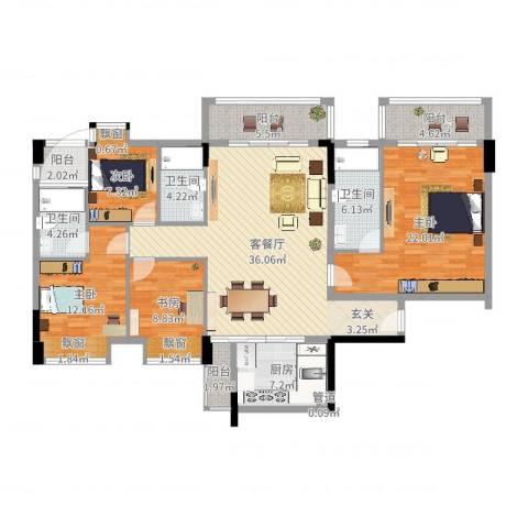 大步海滨花园三期4室2厅4卫1厨122.38㎡户型图