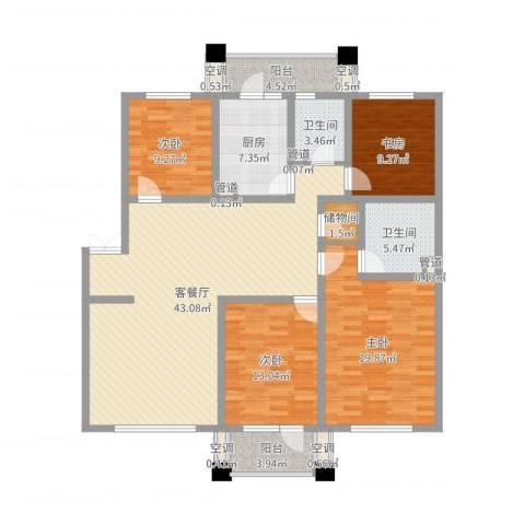 我的家园4室2厅2卫1厨154.00㎡户型图