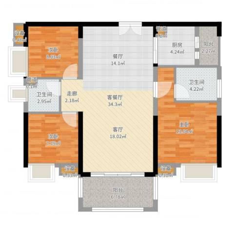 中信凯旋城别墅3室2厅2卫1厨106.00㎡户型图