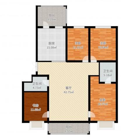 松浦观江国际4室1厅2卫1厨171.00㎡户型图