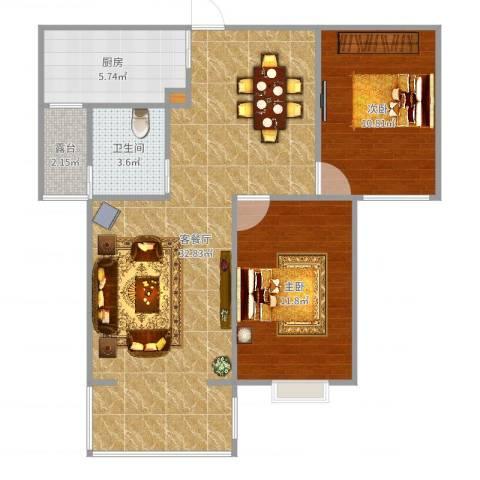 绿园爱舍2室2厅1卫1厨84.00㎡户型图
