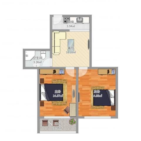 贝港南区2室1厅1卫1厨65.00㎡户型图