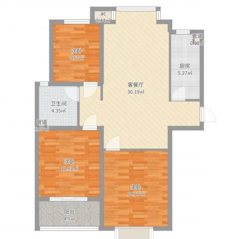 橄榄城3室2厅1卫1厨98.00㎡户型图