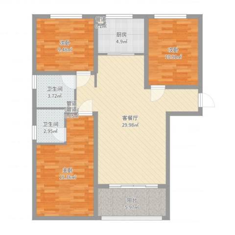 橄榄城3室2厅2卫1厨104.00㎡户型图