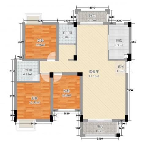 东投阳光城3室2厅2卫1厨119.00㎡户型图