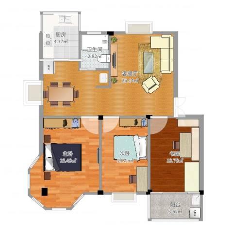 繁裕新村3室2厅1卫1厨91.00㎡户型图