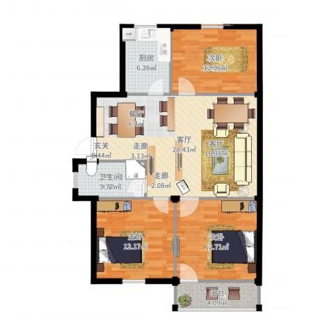 西肖堡场3室1厅1卫1厨98.00㎡户型图