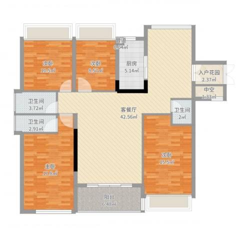 中洋公园首府4室2厅3卫1厨149.00㎡户型图