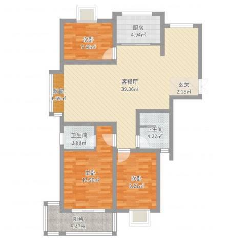 德汇公馆3室2厅2卫1厨86.83㎡户型图