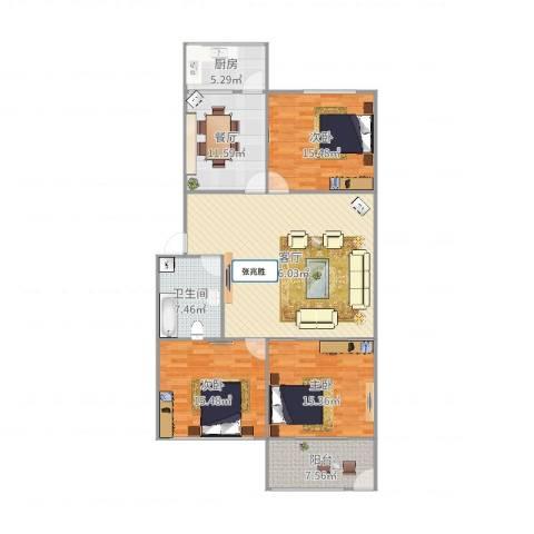 鑫达小区3室2厅1卫1厨143.00㎡户型图