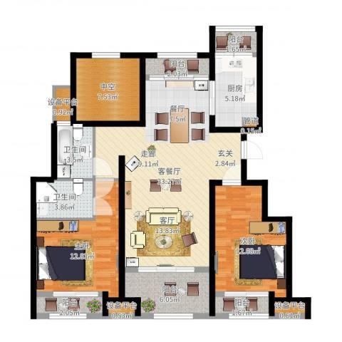 创想凯旋湾2室2厅2卫1厨118.00㎡户型图