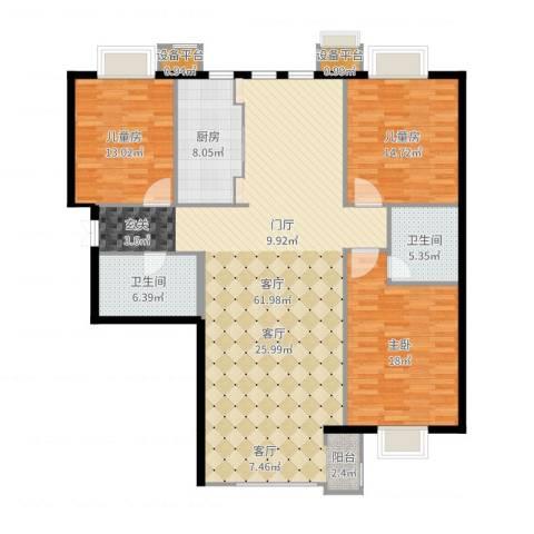 新松・茂樾山3室1厅4卫1厨162.00㎡户型图